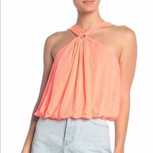 NWT Free People Just a Fling halter Tank- coral